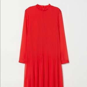 H&M Red Pleated Dress